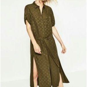 NWT Zara Olive Green Star Dress sz L